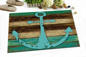Nautical Anchor Rustic Wood Board Non-slip Rug Floor Door Carpet Bathroom Mat