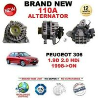 FOR PEUGEOT 306 1.9D 2.0 HDi 1998-ON BRAND NEW 110A ALTERNATOR EO QUALITY