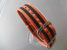 Uhrenarmband Nylon 18 mm orange schwarz orange NATO BAND Dornschließe Textil