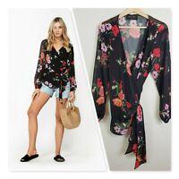 [ DECJUBA ] Womens Print Poppy Bloom Wrap Blouse Top | Size M or AU 12 / US 8
