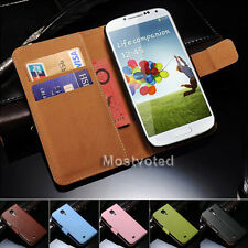Genuine Leather Wallet Flip Case Cover For Samsung Galaxy S4 i9500 i9505