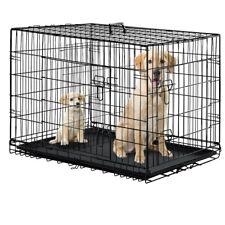 """Black 48"""" 2 Door Pet Cage Folding Dog w/Divider Cat Crate Cage Kennel With Tray"""