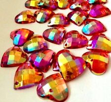 SALE! 30 pcs x Sew On 14 mm Acrylic Rhinestones Red AB Color Heart Shape