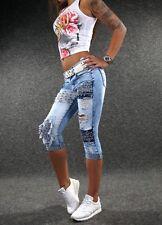 ZAZOU sexy Capri Jeans XS S M L XL Damen Designer Stretch Shorts 3/4 Hose E800