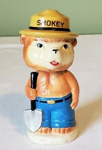 Early Unknown Maker Japan SMOKEY BEAR BOBBLE HEAD Action Toy 50's V RARE MINT