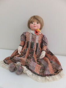 Vintage large lifelike soft cloth doll, with paper mache moulded face, handmade