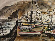Jack Fenstermacher 1929-1988 Aquarell  KÜSTE IN ITALIEN - FISCHERDORF MIT BOOTEN
