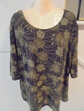 1626 LABEL SIZE 22 BROWN PATTERN GLITTER EVENING SPECIAL OCCASION TOP 'PERFECT'