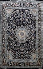 Traditional Navy Blue Floral Kashmar hand-Knotted Area Rug Wool Carpet 10x13 ft