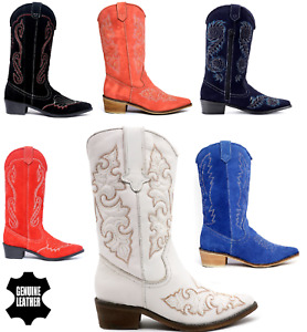 Ladies Womens Cowboy Boots Biker Knee High Riding Shoes wedge Suede Upper Leathr