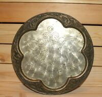 Vintage hand made floral engraved metal serving tray platter