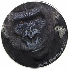 Ghana 5 Cedis 2015 Antique Finish Gorilla Silver Ounce Gorillakopf in Farbe