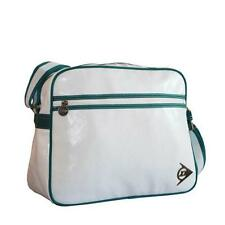 Dunlop-para hombre estilo retro y gym/cabin/school / college/sports Bolso de Hombro-White/green