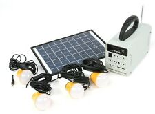 Solar Power Lighting System w/ 4 LED Lights, Solar Panel, Battery, FM Radio, mp3