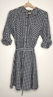 Como Vintage Women's Navy White Check Print Belted Button Down Dress Size Large