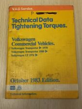 1983 V.A.G Technical Data Tightening Torques Vw Commercial Vehicles Transporter