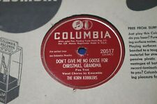 Korn Kobblers 78rpm Columbia 20517 No Goose for Christmas Classic Vintage 78