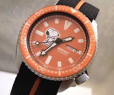 Seiko Ceramic Orange Snoopy Peanuts Automatic Day Date Diver's Watch Custom 6309