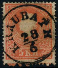 ÖSTERREICH 1858 5kr, EXTREM VERZÄHNT! ANDREASKREUZ-ANSATZ! KRAUBATH (St) Mü:20P!
