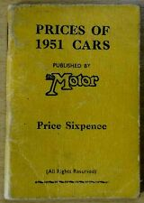 THE MOTOR : PRICES OF NEW BRITISH CARS IN 1951 .. WITH SPECIFICATIONS (1951)