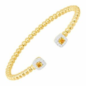"""Welry Cuff Bracelet with CZ in Rhodium and Yellow Gold Flash Plated Bronze, 7"""""""
