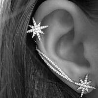 1 Paar Schneeflocke Ohrstecker Ohrklemme Ohrclip Ear Cuff Ohrringe Ohrschmuck