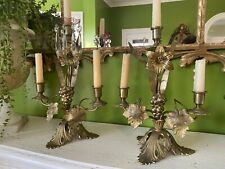 Pair antique french candelabras 1800's Brass Lillies Leaves Prisms Bobashes