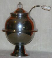 1930's Lehman Brother New York Art Deco Chromium Plated Punch Bowl & Lid & Ladle