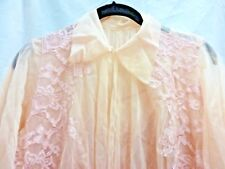 VTG 50S CHARMODE PINK PEIGNOIR ROBE & GOWN WITH LACE CHIFFON SEARS SIZE SMALL