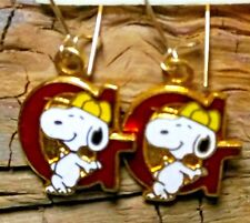 """VTG SNOOPY INITIAL """"G"""" EARRINGS NEW SIGNED AVIVA UNITED FEATURES PIERCED NEW"""