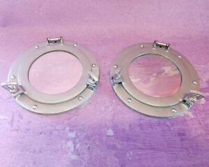 """Ship Cabin 9"""" Porthole Mirrors Brushed Aluminum Silver Round Nautical Decor PAIR"""