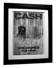 JOHNNY CASH+Unchained+POSTER+AD+RARE ORIGINAL 1996+FRAMED+FAST GLOBAL SHIP