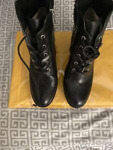 Michael Kors Leather Kim Lace Ip Booties Black Sz 11m.