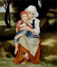 Hand Painted Oil Painting Repro Bouguereau Frere et soeur Bretons 20x24in