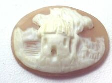 NOS Antique Hand Carved Oval Shell CAMEO Stone House & Tree Scene #N422