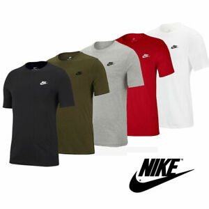 Nike Mens T Shirt Cotton Club Top Black White Red Grey Size Med Large  S M L XL