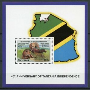 Tanzania Wild Animals Stamps 2002 MNH Independence Lions Elephants Rhinos 1v S/S
