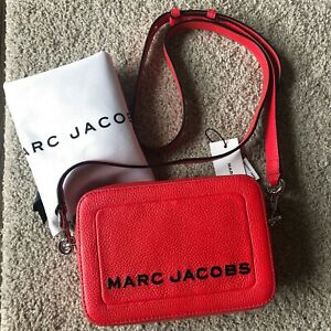 NWT MARC JACOBS The Box Leather Crossbody Bag Geranium Red