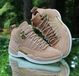 Nike Air Jordan 12 Retro Vanchetta Tan Women's Size 6 Metallic Gold AO6068-203