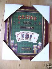 "Framed Casino No Limits Texas Hold EM Royal Flush  Cards & Chips 9"" X 11"""