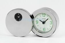 Movado Museum Double Dial Stainless Steel Travel Alarm Clock Rsi010M New Box