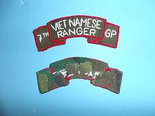 b2215 RVN Vietnam Army Vietnamese Ranger  tab on camo 7th GP  hnd emb skny