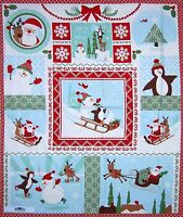 "Christmas Fabric Panel - Joy Kate Spain Santa Penguin Snowman 36"" Moda Cotton"