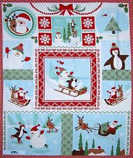"Christmas Fabric Panel - Joy Kate Spain Santa Penguin Snowman 36"" Moda Cotton"