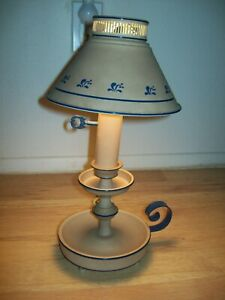 Vintage Tan & Blue Accents Toleware Candlestick Lamp With Metal Shade