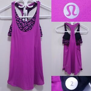 Lululemon Purple Animal Print Tank Top Size 2 XXS Yoga Shirt Run Bra