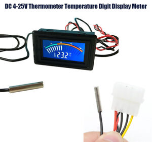 DC 4-25V Water-proof Temperature Digit Display Meter for Probe Car Thermometer