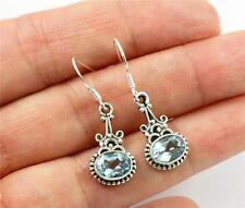 Pretty Blue Topaz, Solid 925 Sterling Silver Dangle/ Drop Earrings jewellery, 31