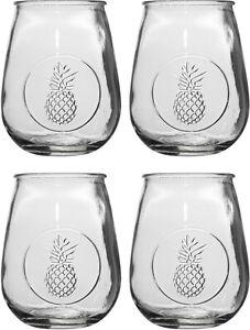 RETROWARE S/4 PINEAPPLE 21OZ STEMLESS GLASSES