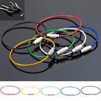 10Pcs Stainless Steel Keychain Rope Wire Cable Loop Screw Lock Gadget Ring Rl so